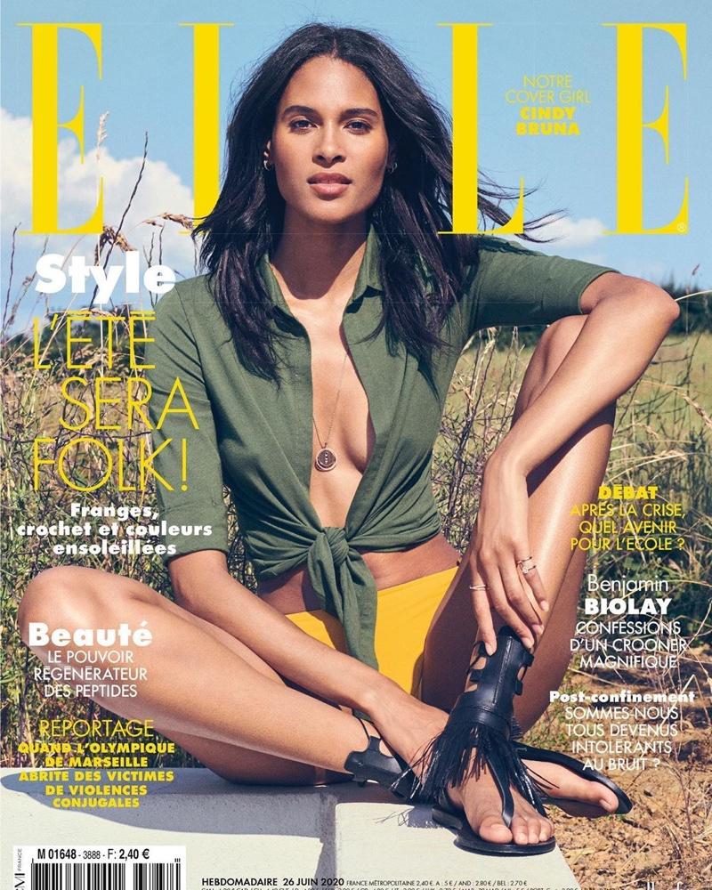Cindy Bruna bares cleavage for ELLE France June 2020