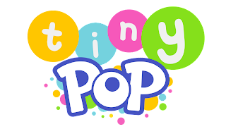 Tiny Pop logo which has tiny written in 4 coloured circles and POP in white with lots of small coloured circles behind