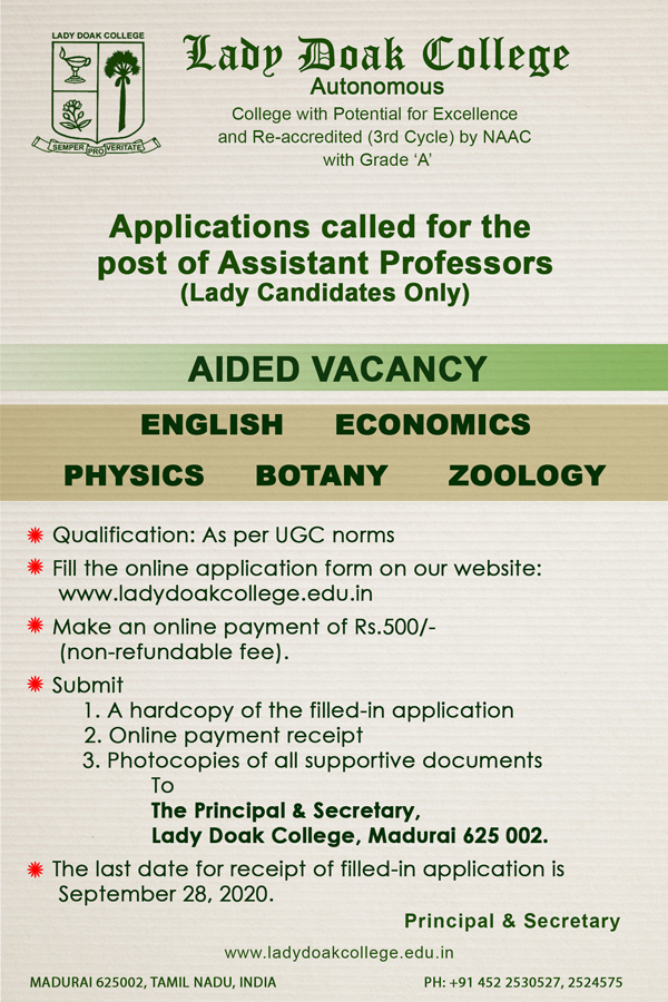 Lady Doak College Botany/Zoology Assistant Professor Job Openings