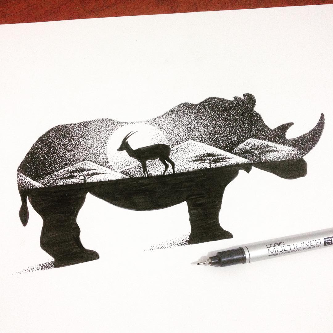 10-Rhino-and-Antelope-Thiago-Bianchini-Eclectic-Collection-of-Drawings-and-Illustrations-www-designstack-co