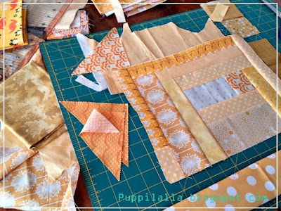 Improv quilting, log cabin block, Puppilalla, quilting bee block,