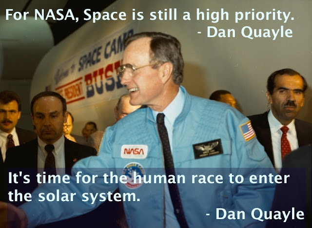 Dan Quayle VP quotes about NASA George HW Bush visiting NASA