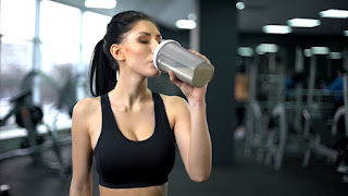 Lady Drinking Protein Shake