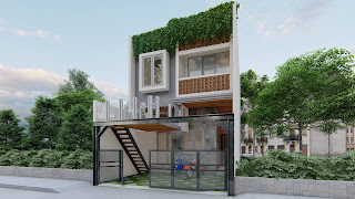 rumah tipe minimalis 2 lantai dengan balkon mezzanine