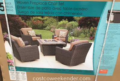 Costco 1031541 - Agio International 5pc Woven Fire Chat Set - great for any patio or backyard