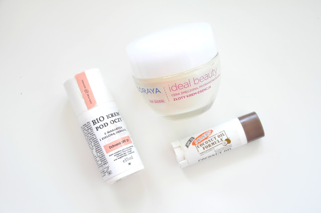 krem pod oczy make me bio z marakują i zieloną herbatą, krem do twarzy soraya ideal beauty do cery zmęczonej i pozbawionej blasku, balsam do ust palmer's coconut oil formula