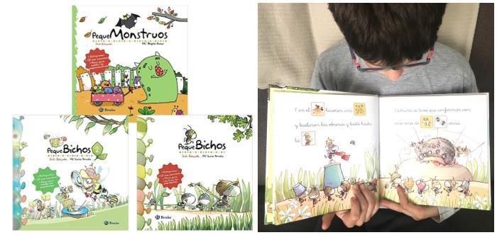 cuentos libros infantiles en letra ligada y pictogramas Pequebichos y pequemonstruos