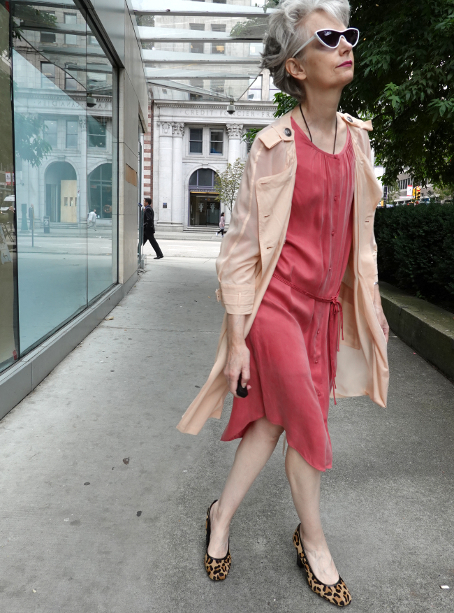 Mel Kobayashi bag and a beret august 2019 coral dress