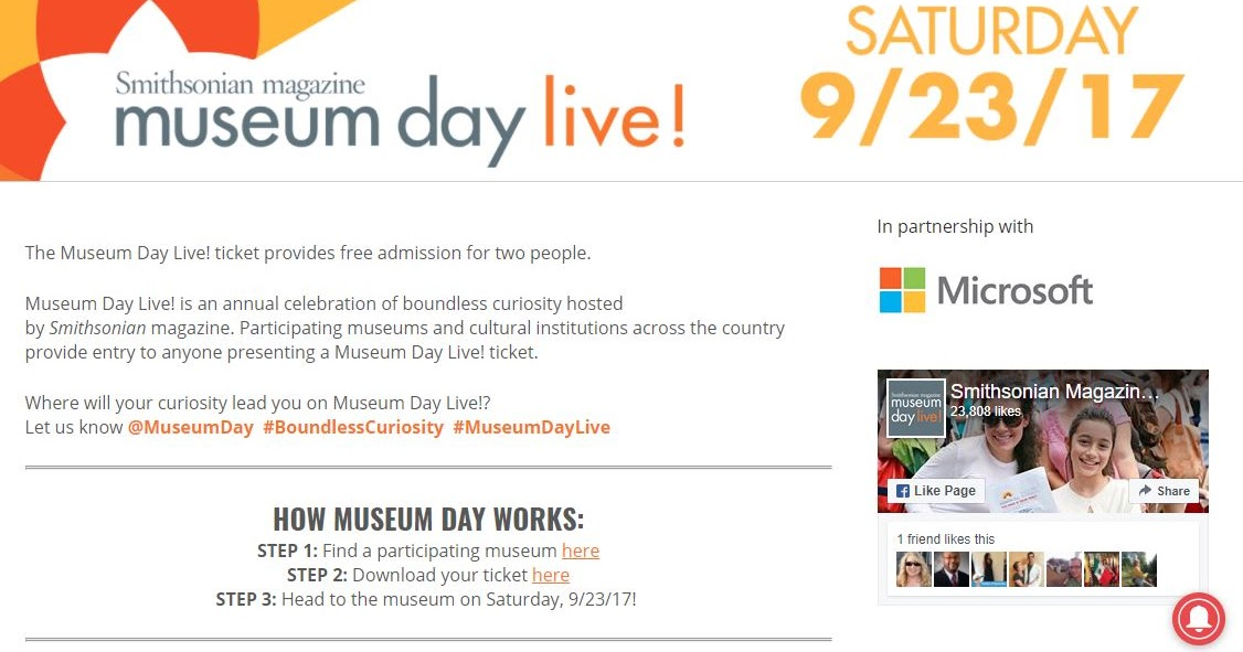 Museum Day Live! Join in the Fun -- It's FREE! (23 September 2017)