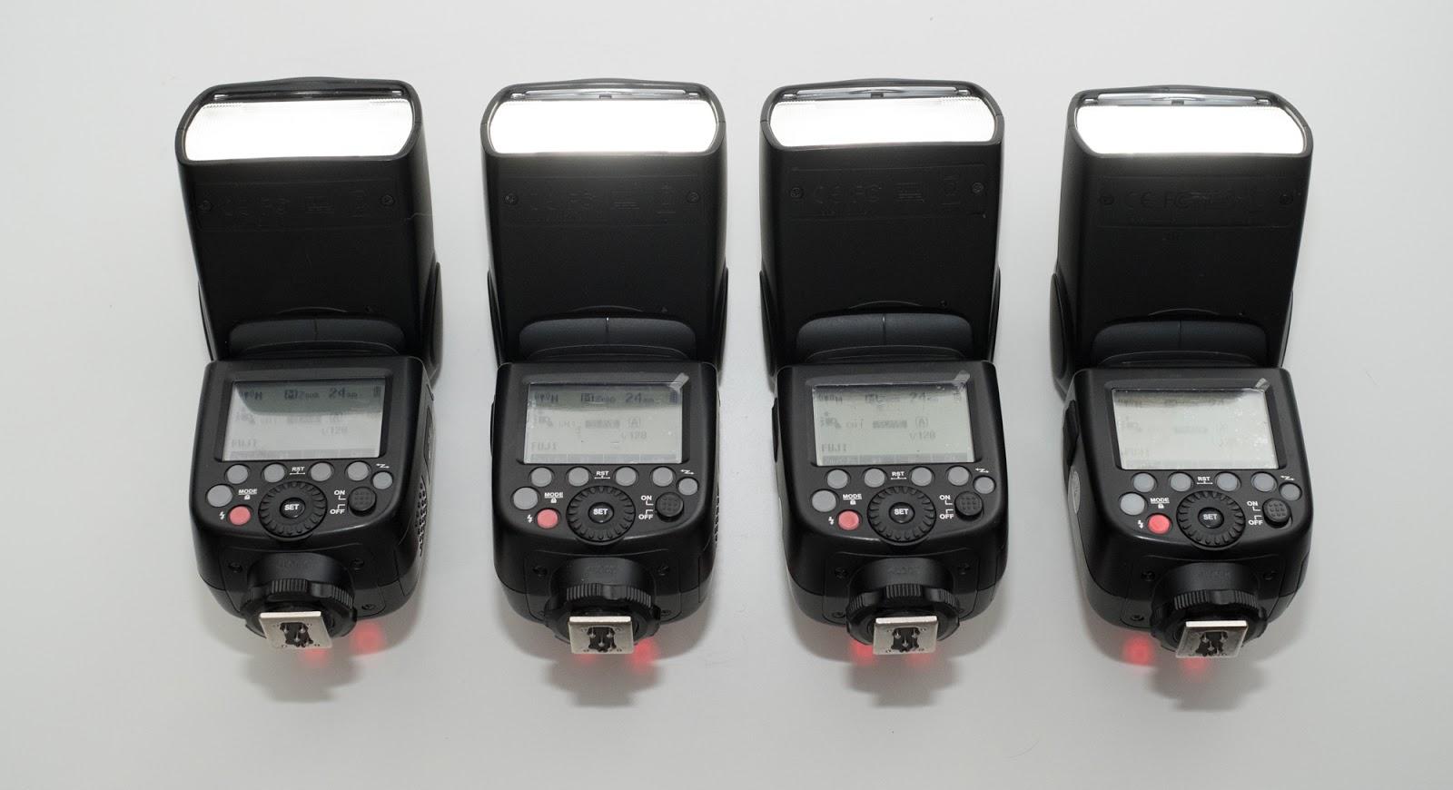 Четыре Godox V860II управляются с помощью Godox TT350
