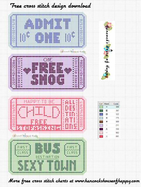Free Fairground Ride Tickets Cross Stitch Pattern. Funny Snarky Cross Stitch Tickets