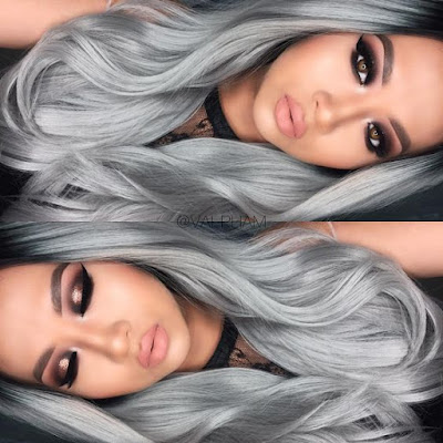 beautiful model gray hair