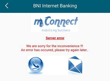 Error Saat Buka Internet Banking BNI di Aplikasi