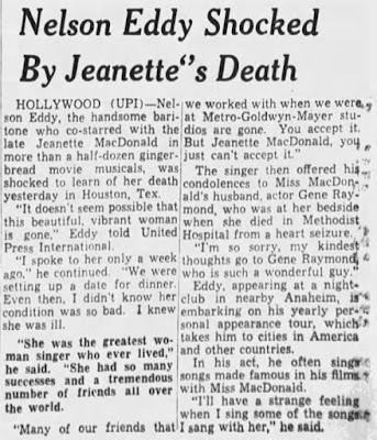 Jeanette MacDonald's Death