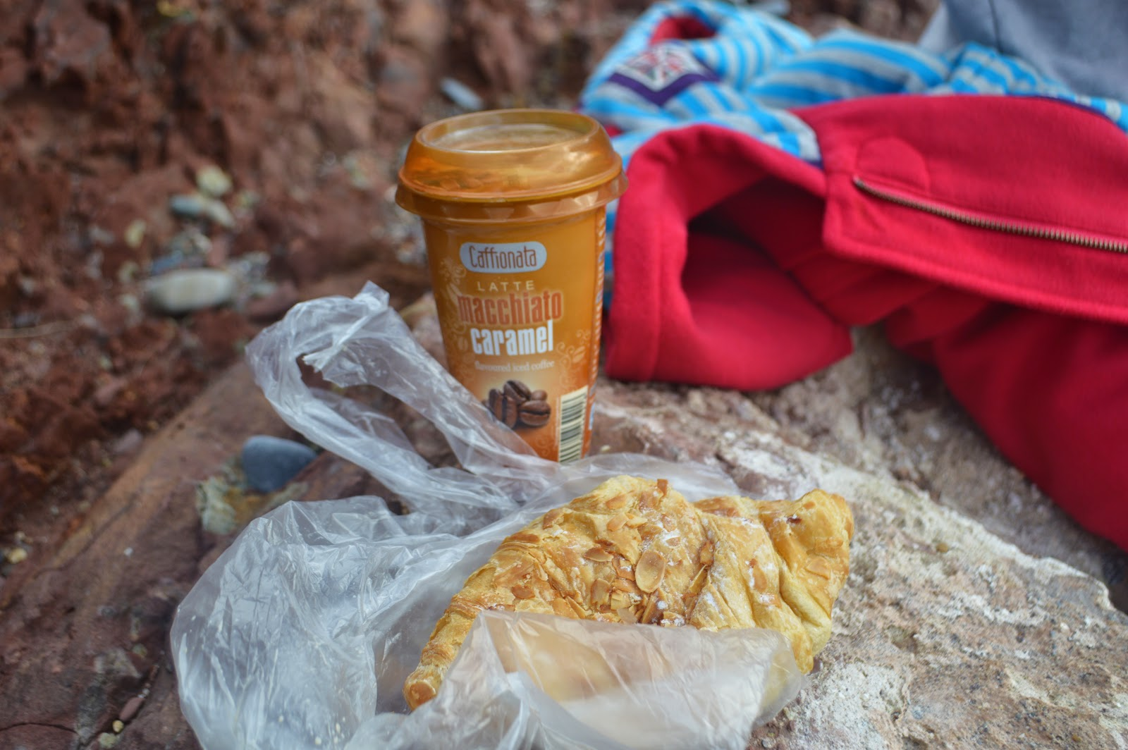 Coffee and Croissant on Manorbier Beach, Pembrokeshire, Wales