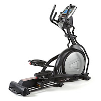 "Sole E55 Elliptical Trainer, compact design with high-end features, 25 lb flywheel, 10 programs, adjustable incline, dual handlebars, built-in speakers with MP3 connectivity, cooling fans, 20"" stride length, ergonomic articulating pedals with 2 degree incant"