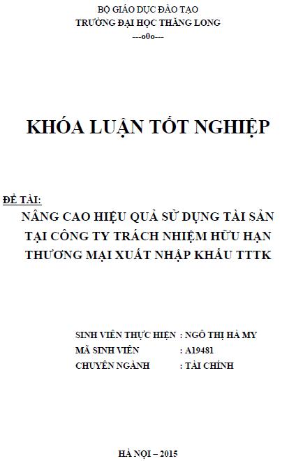Nâng cao hiệu quả sử dụng tài sản tại Công ty TNHH Thương mại Xuất nhập khẩu TTTK