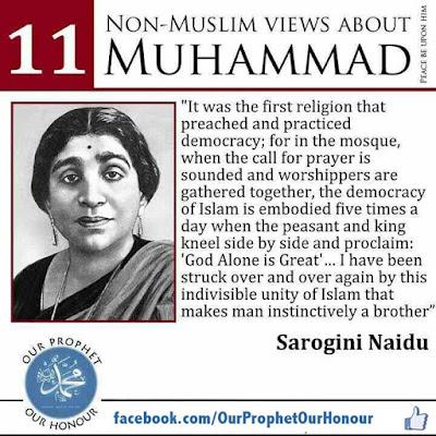 Sarogini Naidu views about Prophet Muhammad (PBUH) by Ummat-e-Nabi.com