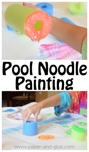 Pool Noodle Painting- Fun summer process art activity for preschool, kindergarten, and elementary kids.