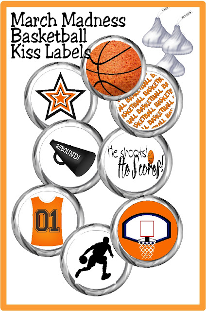Celebrate your win or drown your sorrows in chocolate kisses with these fun Basketball kiss labels on. These printable kiss labels are the perfect party dessert or party favor for your basketball party.  #basketballparty #kisslabels #marchmadness #chocolate #candybarwrapper #diypartymomblog