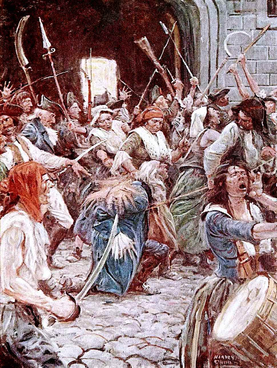 a Harvey Dunn illustration of the French revolution mob:  40,000 killed by guillotine