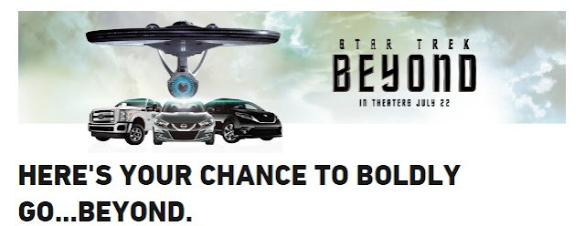 Enterprise Rent-A-Car wants you to boldly go and enter weekly to win a trip to San Diego to attend the premiere of Star Trek Beyond, a private movie screening in your town, movie tickets and more!