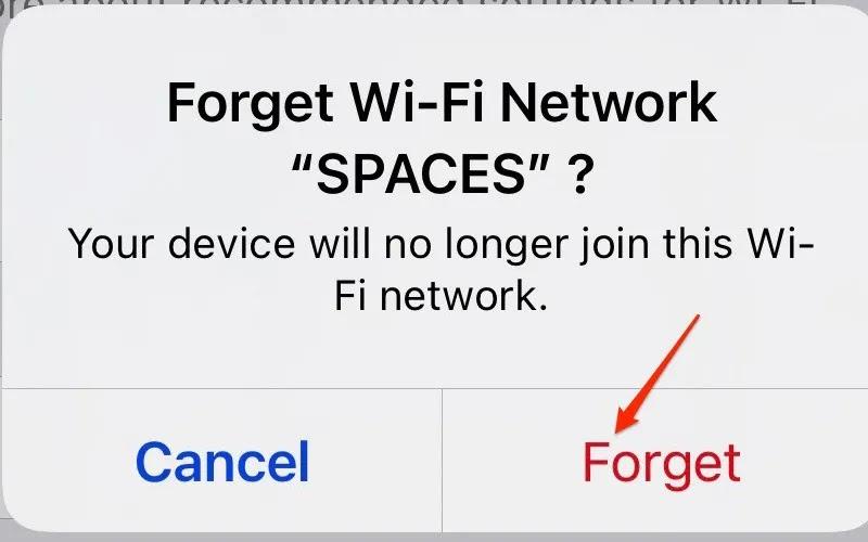 لقطة شاشة تعرض خيار نسيان شبكة iPhone وتأكيدها