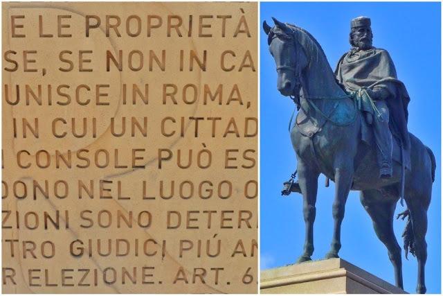 Muro del Belvedere y estatua ecuestre de Giuseppe Garibaldi en el Gianicolo de Roma