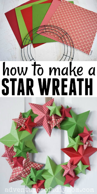 collage of supplies and 3d star wreath