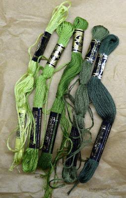 Greens for use on needlepainted leaves