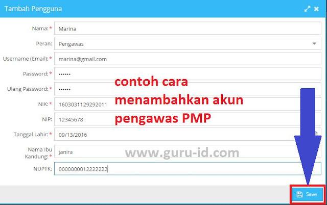 gambar 2 cara tambah akun pengawas pada aplikasi PMP
