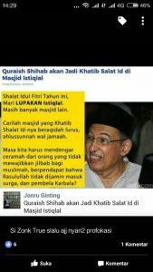Viral! Jonru Kembali Membuat Ulah ! Jonru Menghina Prof. Quraish Shihab Karena Menjadi Shalat Id Di Masjid Istiqlal