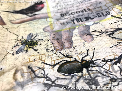 closeup of wet paint - art journal page by Jenny James featuring Tim Holtz Stamps