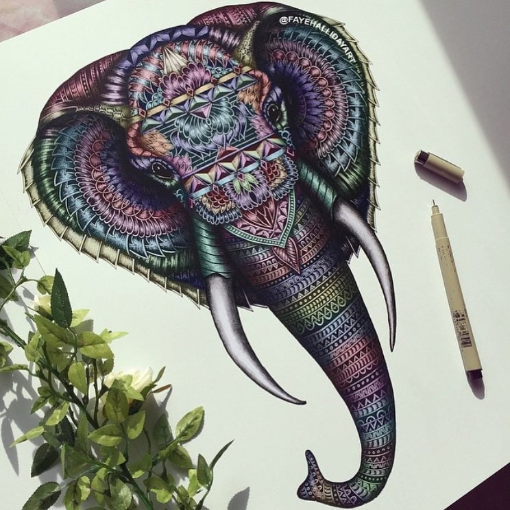 09-Elephant-Faye-Halliday-Animal-Drawings-and-Mandalas-www-designstack-co