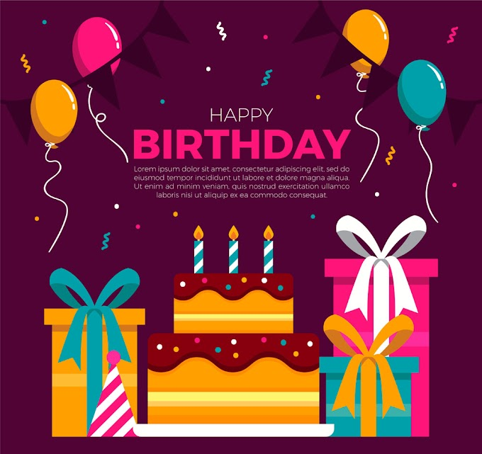 Flat birthday cake and gift box greeting card vector material