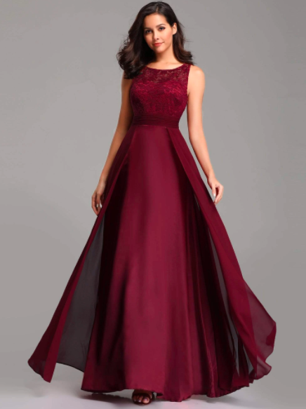 Round Neck Lace and Chiffon Evening Prom Dresses for Party