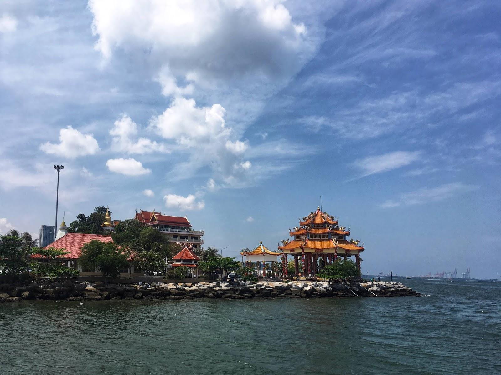 a Chinese temple near the ocean in Siracha, Thailand