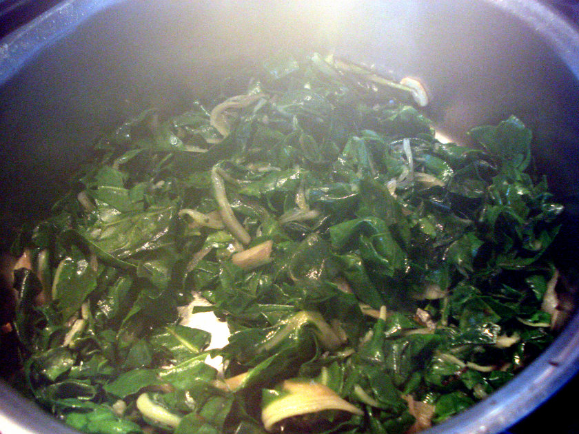 Stew chard for few minutes.