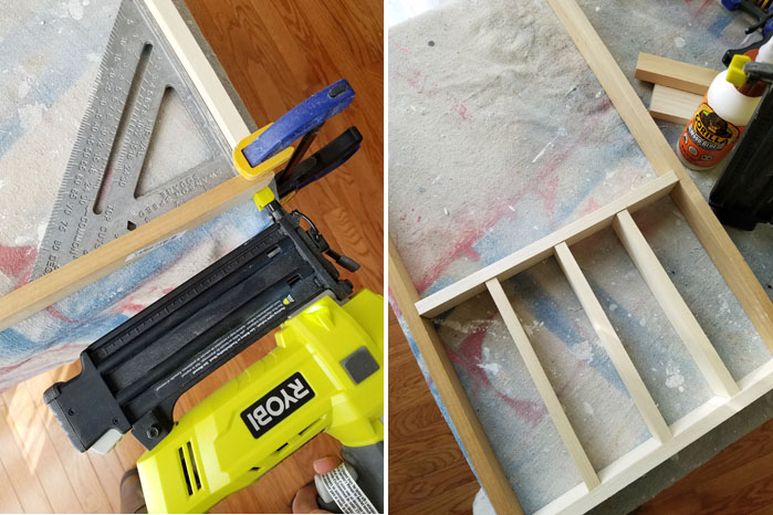 using Ryobi nailer to secure wooden drawer divider