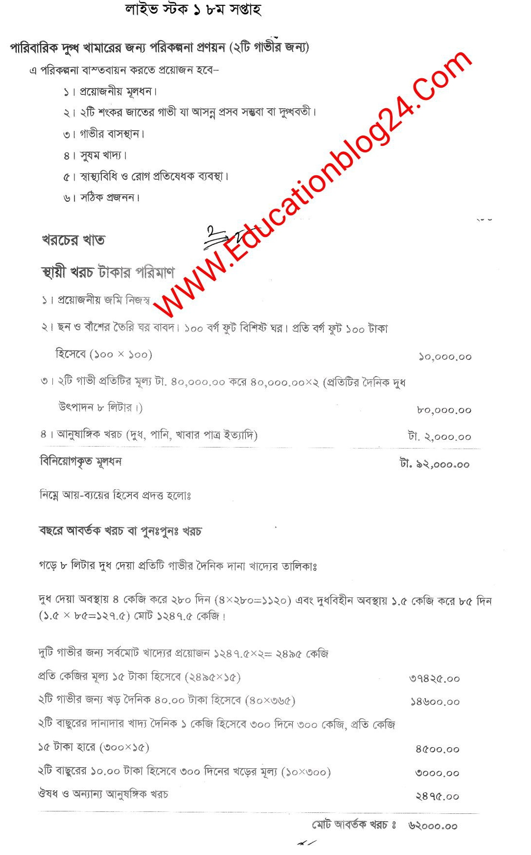 SSC / Dakhil (Vocational) Livestock Rearing and Farming Assignment Answer 2021 5