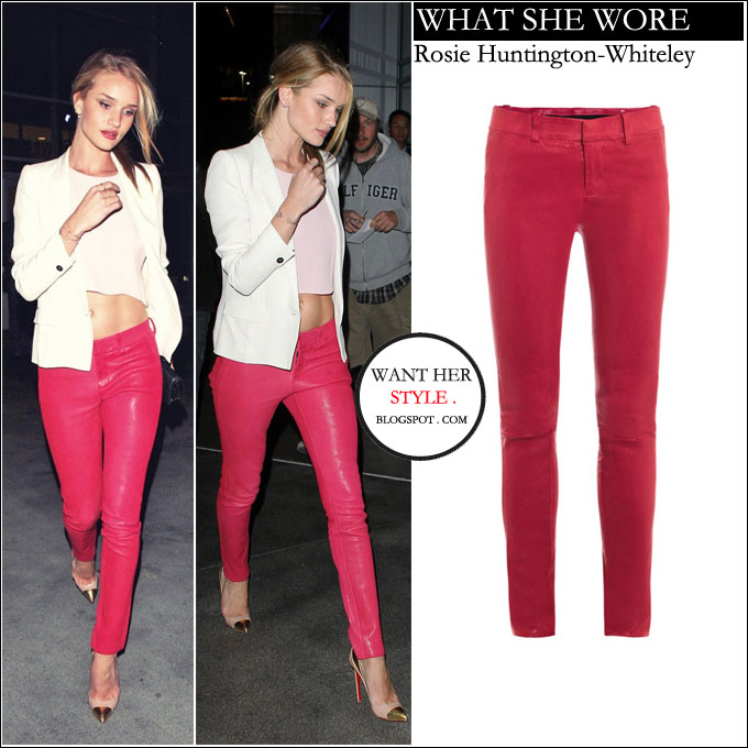 WHAT SHE WORE  Rosie Huntington-Whiteley in raspberry red leather ... 36b4cbcc7a14b