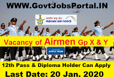 Indian Air Force Recruitment 2020 : Indian Air Force Airmen Group-X & Y Posts under Indian Air Force