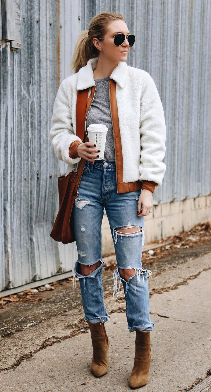 cute outfit idea for this fall : white fur jacket + bag + top + ripped jeans + boots