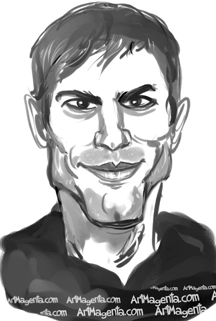 Ashton Kutcher caricature cartoon. Portrait drawing by caricaturist Artmagenta