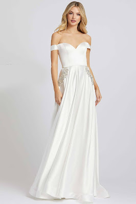 Off the shoulder A-line Evening Dress Ieena For Mac Duggal white Color