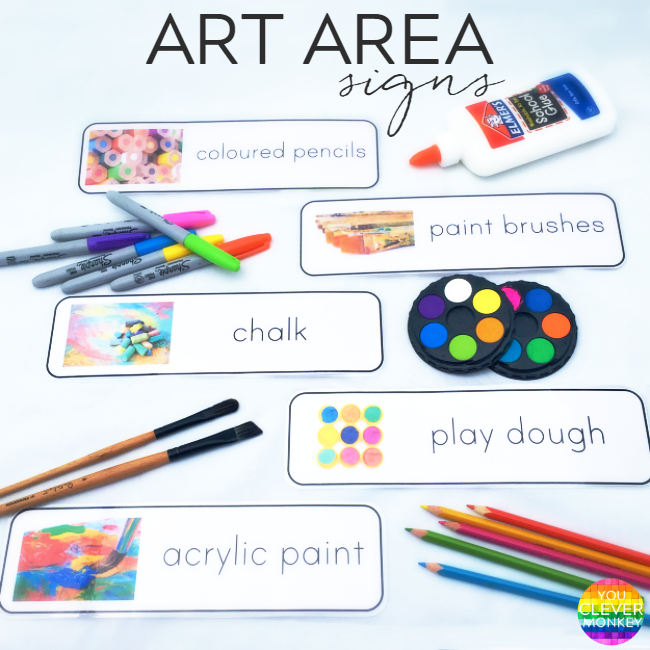 Printable Art Area Signs - organise your classroom or homeschool with these print rich art area signs | you clever monkey