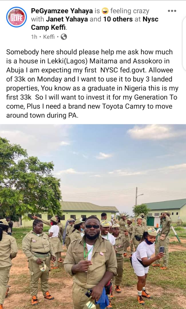I will buy 3 houses in Lekki, Assokoro, Maitama And A Toyota Camry with my First 33k NYSC Allowee. :- Hausa Rapper, PeGyamzee #Arewapublisize