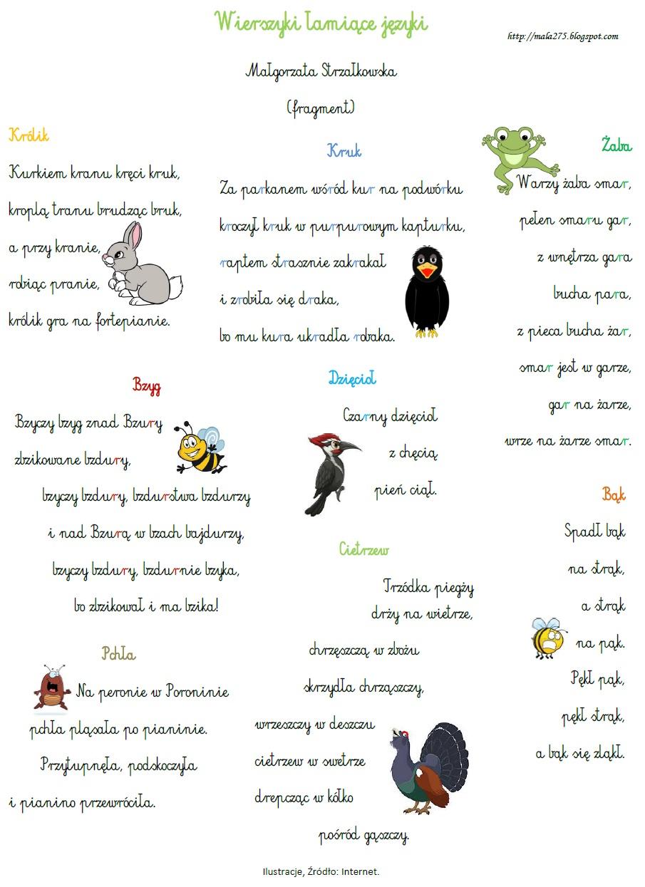 Blog Edukacyjny Dla Dzieci Wierszyki łamiące Języki