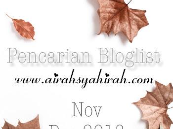 Pencarian Bloglist December 2018 oleh Airah Syahirah