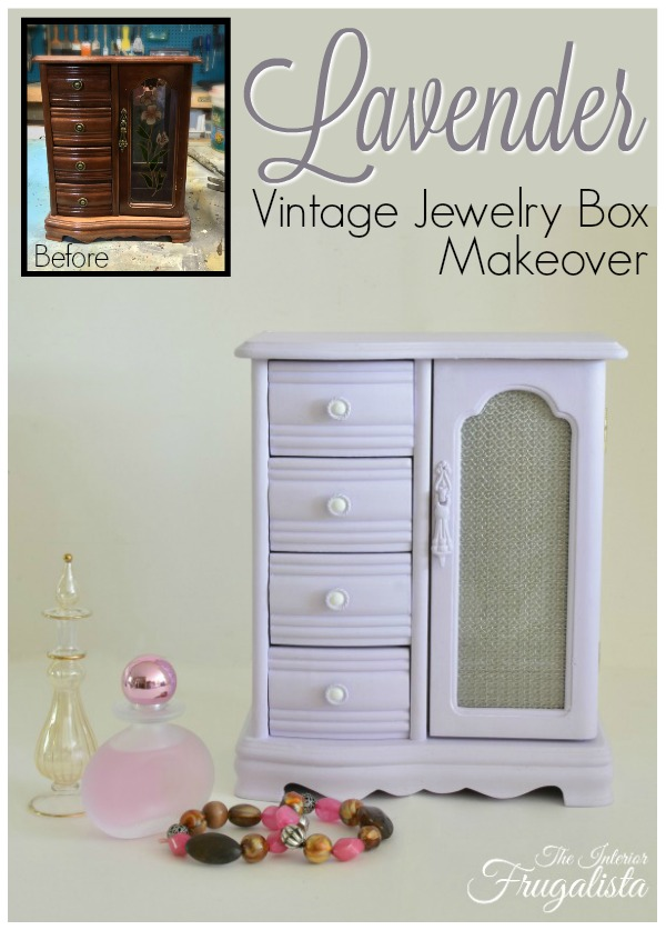 Lavender Vintage Jewelry Box Armoire Before and After